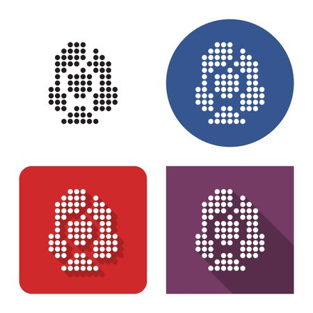 Dotted icon of  female user picture in four variants. With short and long shadow
