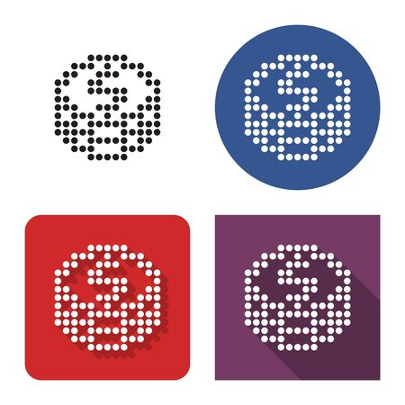 Dotted icon of coins stack in four variants. With short and long shadow