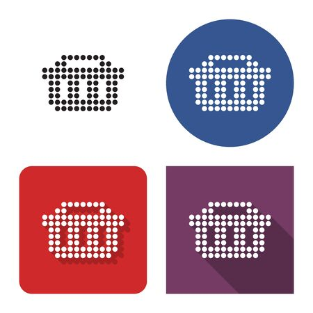 Dotted icon of  shopping basket in four variants. With short and long shadow