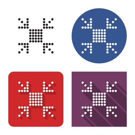 Dotted icon of  reduce screen size in four variants. With short and long shadow