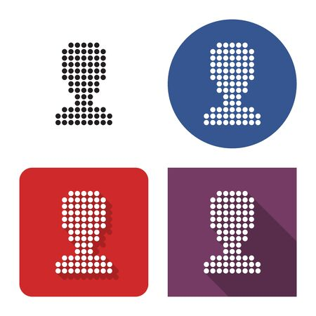 Dotted icon of  male user picture in four variants. With short and long shadow Ilustração