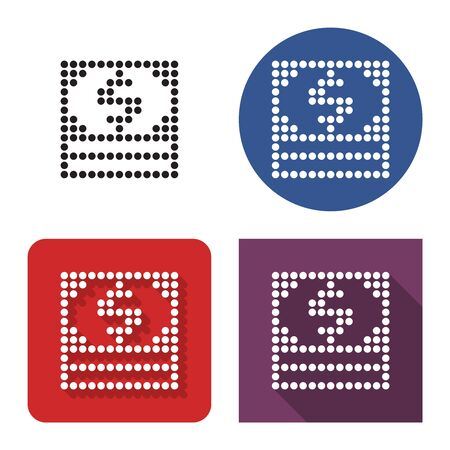 Dotted icon of  banknotes pack in four variants. With short and long shadow