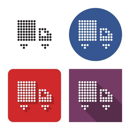 Dotted icon of  delivery car in four variants. With short and long shadow Stock Vector - 129761580