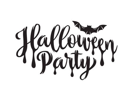 Halloween Party poster. Hand drawn lettering   with jagged edges on white background