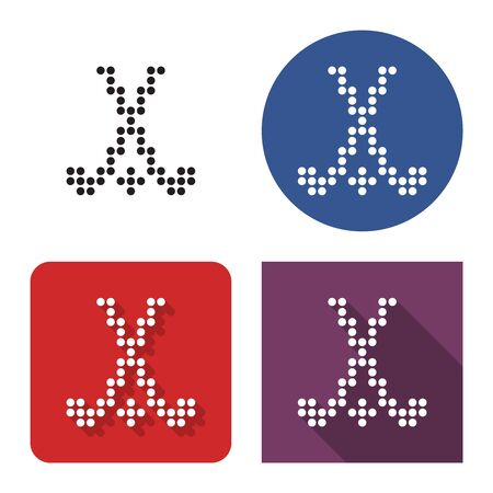 Dotted icon of field hockey in four variants. With short and long shadow Иллюстрация