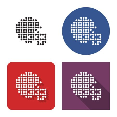 Dotted icon of  american football player helmet in four variants. With short and long shadow