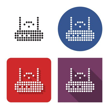 Dotted icon of wireless fidelity router in four variants. With short and long shadow Ilustrace