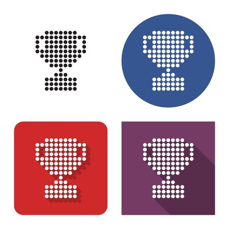 Dotted icon of winner trophy cup in four variants. With short and long shadow Çizim