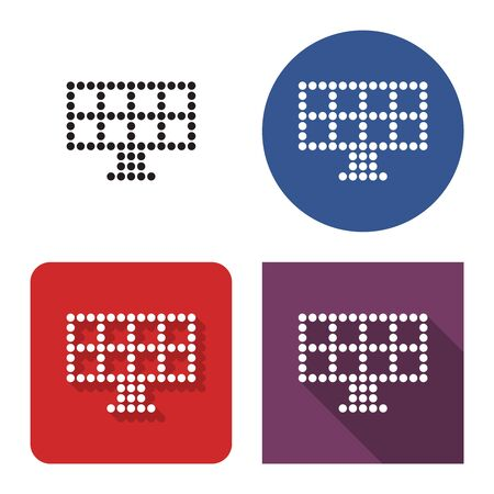 Dotted icon of solar battery in four variants. With short and long shadow