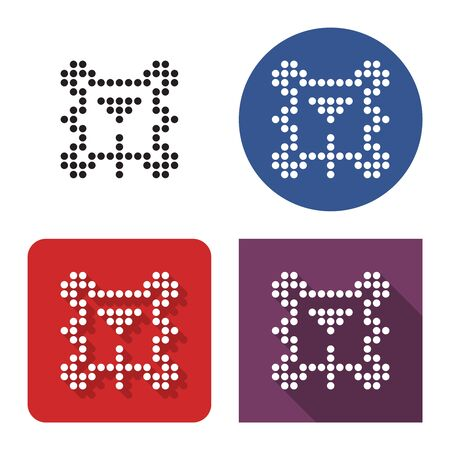 Dotted icon of  billiards in four variants. Table, balls triangle and cue. With short and long shadow 일러스트