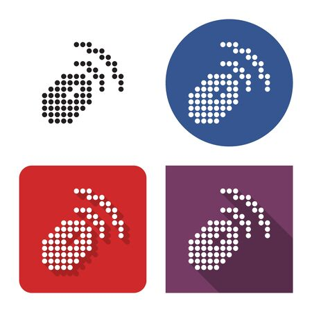 Dotted icon of wireless mouse in four variants. With short and long shadow