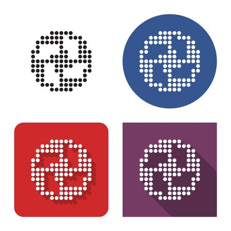 Dotted icon of soccer ball (European football) in four variants. With short and long shadow