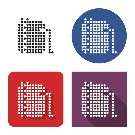 Dotted icon of oil storage tank in four variants. With short and long shadow