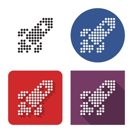 Dotted icon of space rocket in four variants. With short and long shadow