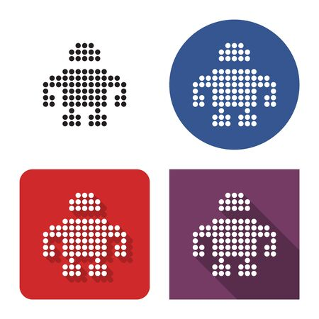 Dotted icon of robot in four variants. With short and long shadow
