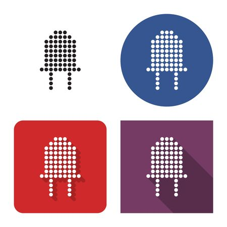 Dotted icon of diode in four variants. With short and long shadow