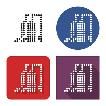 Dotted icon of gas-distribution station in four variants. With short and long shadow