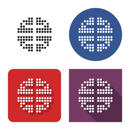 Dotted icon of basketball in four variants. With short and long shadow