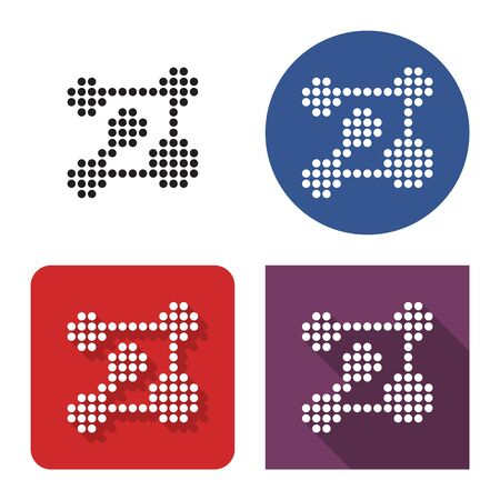 Dotted icon of nanotechnology concept in four variants. With short and long shadow
