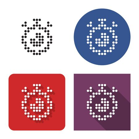 Dotted icon of stopwatch in four variants. With short and long shadow