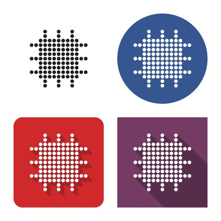 Dotted icon of central processing unit  in four variants. With short and long shadow