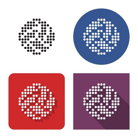 Dotted icon of volleyball in four variants. With short and long shadow 일러스트
