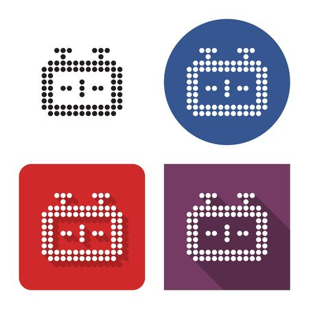 Dotted icon of chess-clock in four variants. With short and long shadow