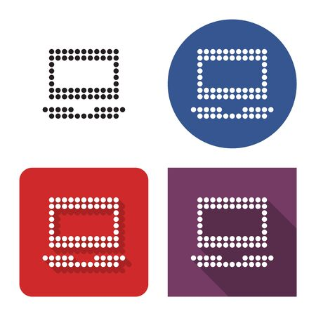 Dotted icon of laptop in four variants. With short and long shadow