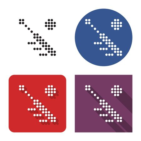 Dotted icon of  baseball in four variants. With short and long shadow 일러스트