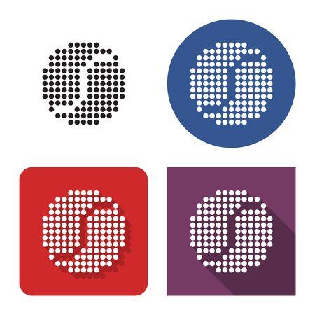 Icône en pointillé de balle de tennis en quatre variantes. Avec ombre courte et longue