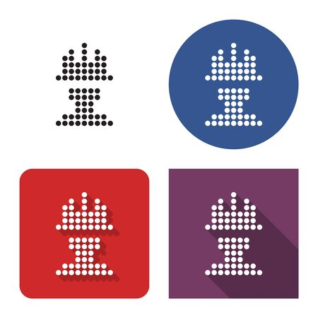 Dotted icon of worker in construction safety helmet in four variants. With short and long shadow