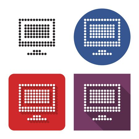 Dotted icon of LCD monitor  in four variants. With short and long shadow Illusztráció