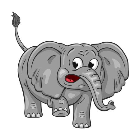 Funny cartoon elephant  on white background