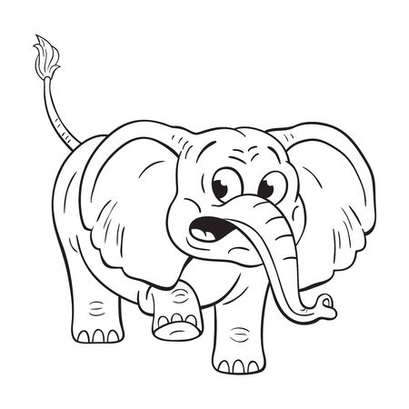 Black and white illustration of  a funny cartoon elephant