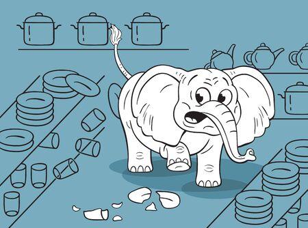Ilustración de dibujos animados de un elefante torpe divertido en una tienda de porcelana