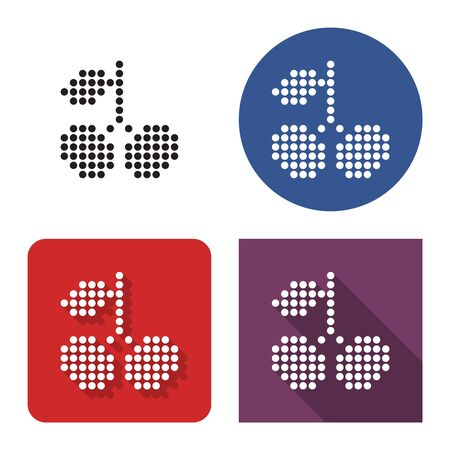 Dotted icon of sweet cherries in four variants. With short and long shadow