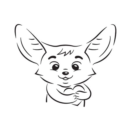 Black and white illustration of cute enamoured fennec fox who presses paws to his breast. Passion cartoon heart beats under paws. Amusing kawaii cartoon character. Funny emotion, feeling and face expression Illusztráció
