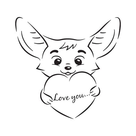 Black and white illustration of cute enamoured fennec fox who holds big cartoon heart with Love you inscription. Amusing kawaii cartoon character. Funny emotion, feeling and face expression Illusztráció