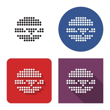 Dotted icon of cheeseburger in four variants. With short and long shadow