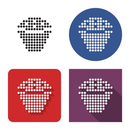 Dotted icon of cupcake in four variants. With short and long shadow