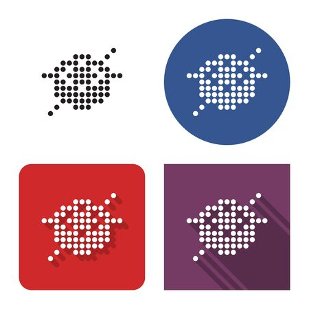 Dotted icon of  sushi roll and chopsticks in four variants. With short and long shadow