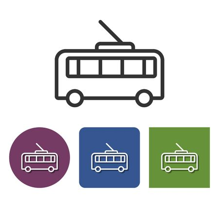 Trolleybus line  icon in different variants