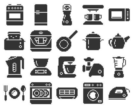 Monochromatic pixel icons set of some kitchen utensils and home appliances