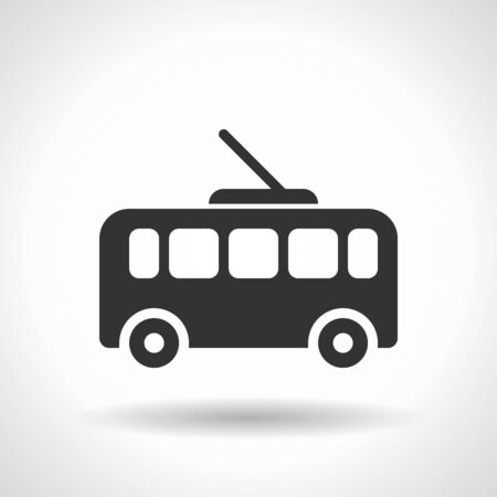 Monochromatic trolleybus icon with hovering effect shadow on grey gradient background. EPS 10  イラスト・ベクター素材