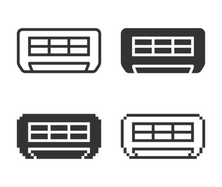 Monochromatic air conditioner icon in different variants: line, solid, pixel, etc.