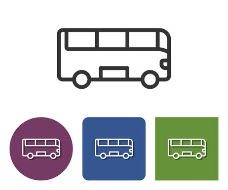 Line icon of bus in different variants
