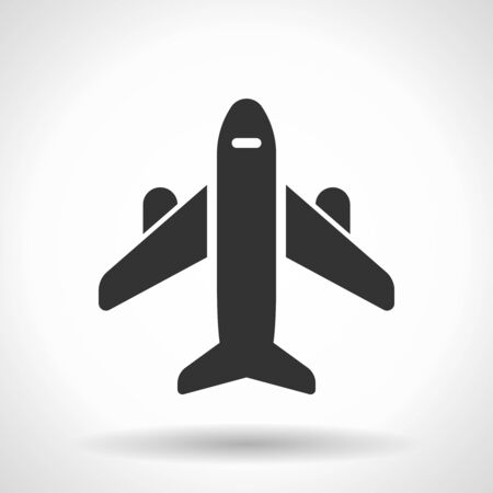 Monochromatic plane icon with hovering effect shadow on grey gradient background. EPS 10 Vector Illustration