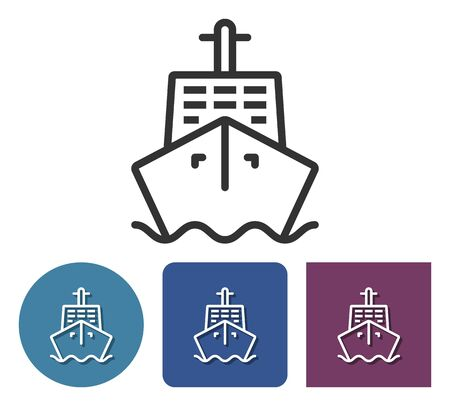 Line icon of ship in different variants