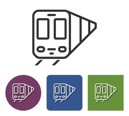 Line icon of train in different variants