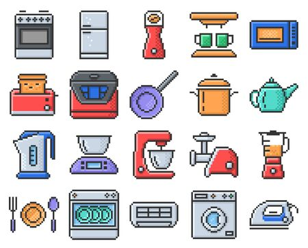 Outlined pixel icons set of some kitchen utensils and home appliances